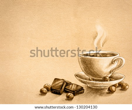 Grunge Pencil Drawings of Tea Pencil Drawing on