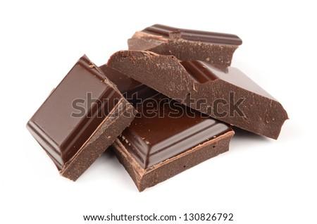 Chocolate on white background