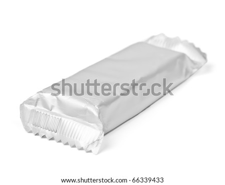 Chocolate or cereal bar  on white background