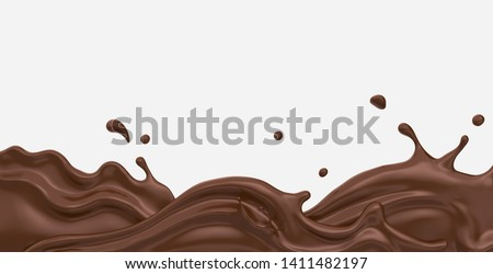 Chocolate or cocoa splash abstract background, 3d rendering Include clipping path.