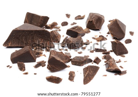 Chocolate parts on white background