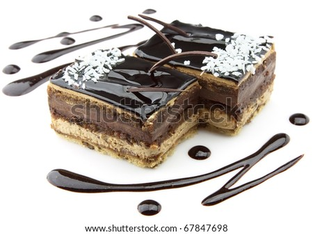 Chocolate pie with a coconut shaving - stock photo
