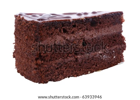 Chocolate Piece of cake Isolated on a white background.