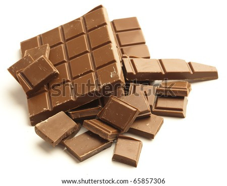 chocolate pieces isolated on a white background