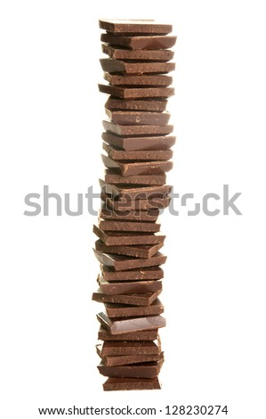 Chocolate pieces isolated on white