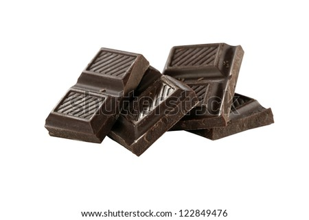 chocolate pieces isolated on white background with clipping path