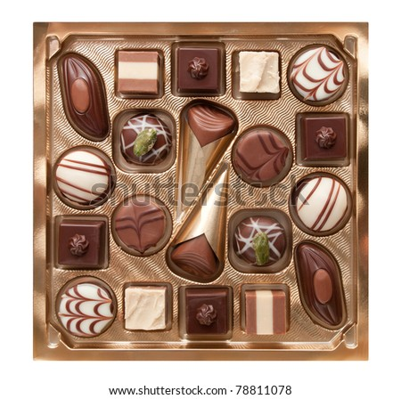 Chocolate pralines in box