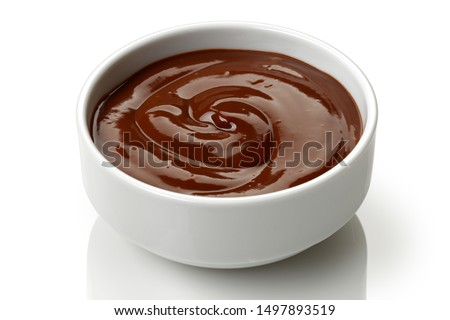Chocolate pudding in a bowl isolated on white background Stock photo ©