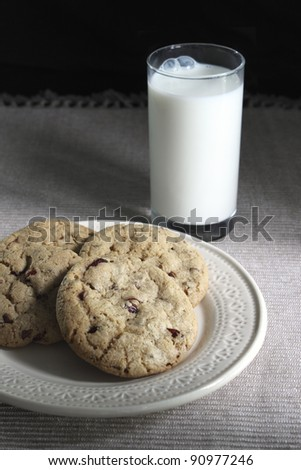 Chocolate raspberry cookies and a glass of milk
