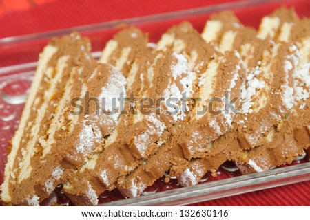 chocolate roll on a plate - stock photo