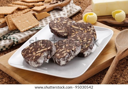 Chocolate salami with butter and biscuits