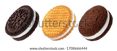 Chocolate sandwich cookies, baked biscuits stuffed with milk cream isolated on white background with clipping path, collection