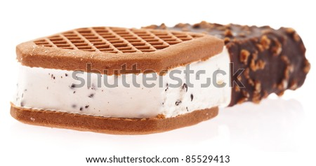 chocolate sandwich ice cream isolated on a white background