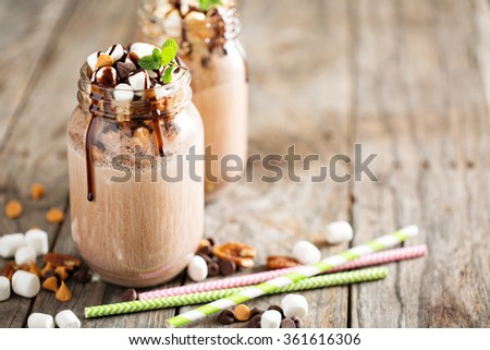 Chocolate shake with dripping sauce and marshmallows Stock photo ©