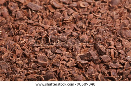 Chocolate shavings close up surface texture
