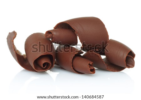 Chocolate Shavings On White Background