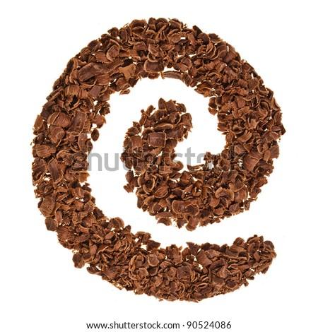 Chocolate shavings swirl  isolated on white background - stock photo