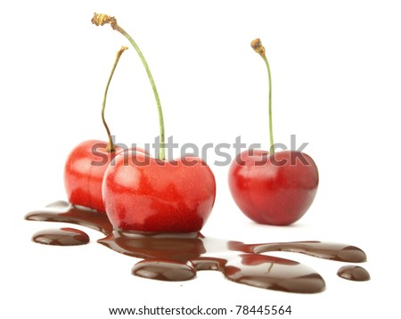 Chocolate spilled and cherries
