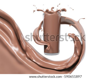 Chocolate splash in glass, food and drink illustration,abstract swirl background,  isolated 3d rendering