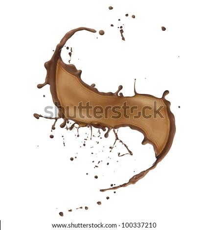 Chocolate splash isolated on white background