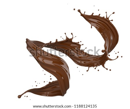 Chocolate splash isolated on white background, liquid or paint pouring, 3d illustration.