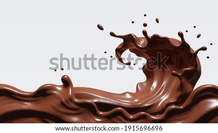 Chocolate splash isolated  with clipping path , 3D Rendering, 3D illustration
