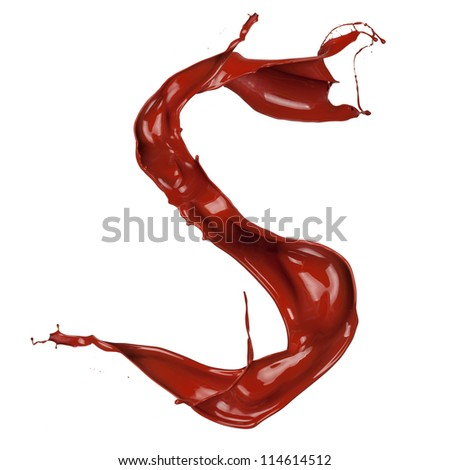 "Chocolate splash letter ""S"" isolated on white background"