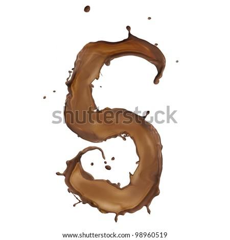 Chocolate splash number 5 isolated on white background