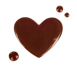 chocolate stain in the form of heart isolated on white background