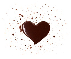 Chocolate stain in the form of heart on a white background