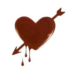 Chocolate stain in the form of heart with arrow and drops on white background