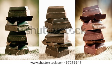 Chocolate Staple with different chocolates on brown background maybe for cocoa concepts