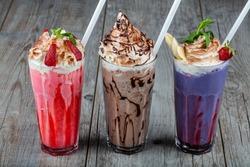 Chocolate, Strawberry,  Milkshake