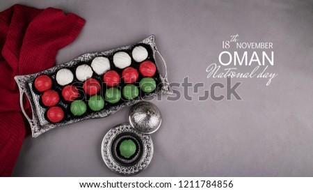 Chocolate sweets arranged like Oman flag