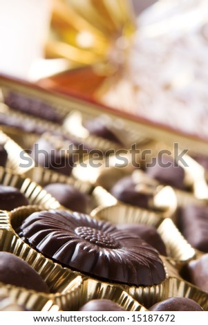 Chocolate sweets in box close up