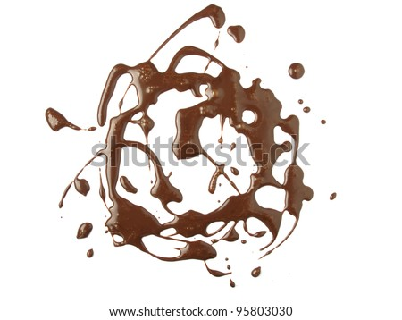 Chocolate syrup drip background, isolated