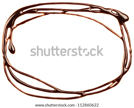Chocolate syrup drip, frame is isolated on a white background