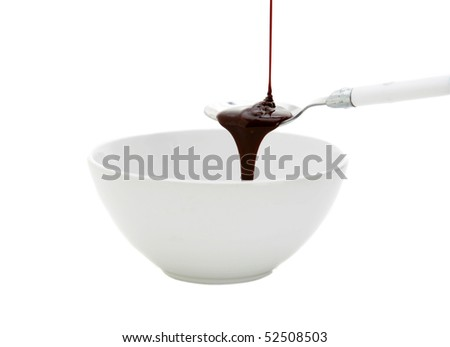 chocolate syrup poured onto a spoon in a white bowl isolated on white