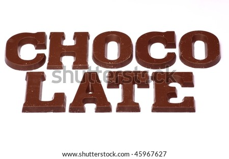 Chocolate text made of chocolate