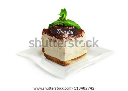 Chocolate tiramisu cake isolated on the white