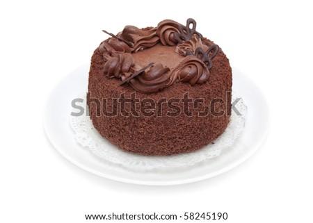 chocolate truffle cake is isolated on white