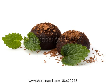 Chocolate truffle candy isolated on white background