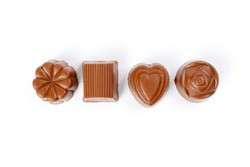 Chocolate truffle hart square cube rose flower shape on white background