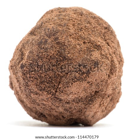 Chocolate truffle isolated on white background