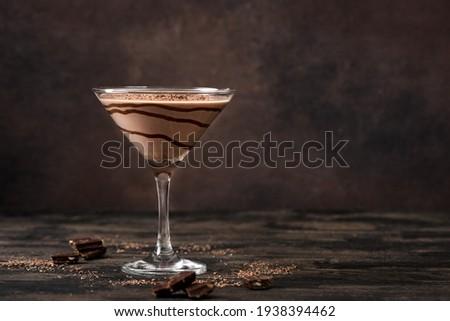 Chocolate Truffle Martini Cocktail on dark wooden background, copy space. Truffletini cocktail recipe. Foto stock ©