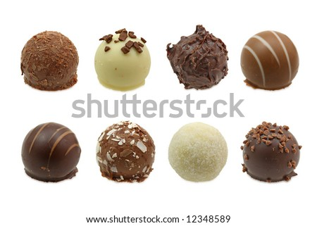 chocolate truffles assortment isolated on white background - stock photo