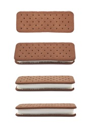 Chocolate vanilla ice cream sandwich isolated over the white background, set of four different foreshortenings