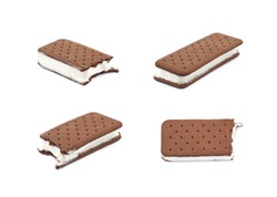Chocolate vanilla ice cream sandwich with a bite taken off it, composition isolated over the white background, set of four different foreshortenings