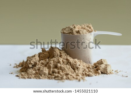 Chocolate whey protein with a scoop. Sports nutrition