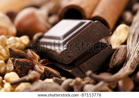 chocolate with coffee beans, spices and nuts